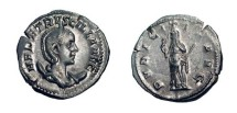 Ancient Coins - HERENNIA ETRUSCILLA, wife of Decius, 249-251 AD.  AR Antoninianus (4.09 gm).  Diademed bust / Pudicitia lifting veil, holding sceptre.  RSC.17.  XF, flan cracks.