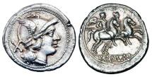 Ancient Coins - ROMAN REPUBLIC.  Anonymous issue, ca. 211 BC.  AR Denarius.