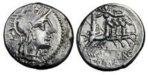 Ancient Coins - ROMAN REPUBLIC.  M. Porcius Laeca, 125 BC.  AR Denarius