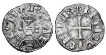 Ancient Coins - FRANCE, Limoges.  Abbey of St. Martial, XII-XIII Century AD.  AR Denier.
