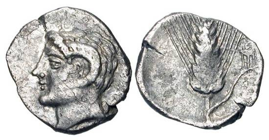 Ancient Coins - LUCANIA, Metapontion.  328-275 BC.  AR Diobol  Head of Apollo Karneios / Barley-ear, tripod.  Johnston.F8.  HN.1604.  Toned VF.  Rare - Johnston records just one other specimen.