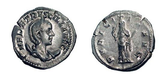 Ancient Coins - HERENNIA ETRUSCILLA, wife of Decius, 249-251 AD.  AR Antoninianus (4.09 gm).  Diademed bust / Pudicitia lifting veil, holding sceptre.  RSC.17.  XF, flan cracks.