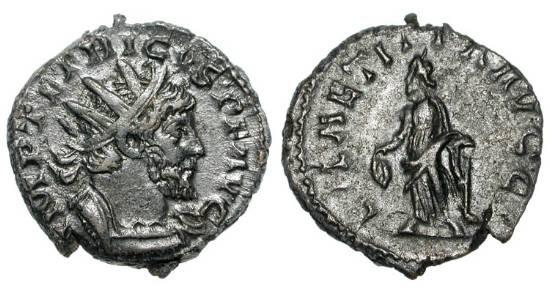 Ancient Coins - TETRICUS I, 270-273 AD.  Æ Antoninianus (3.34 gm).  Radiate draped bust / Laetitia standing.  RIC.87.  VF+.  ex. Boyd