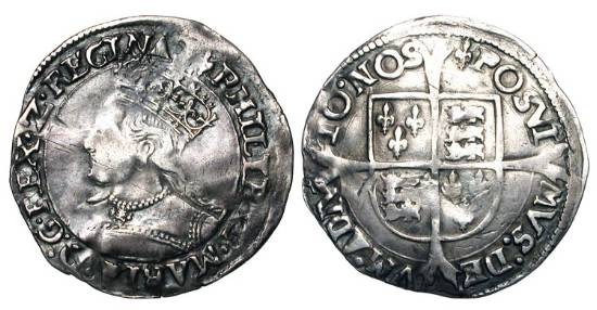 World Coins - ENGLAND.  Philip and Mary, 1554-1558 AD.  AR Groat (1.87 gm) of London, i. m. Lis. Crowned draped bust / Shield of arms on long cross.  S.2508.  Toned VF.