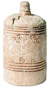 World Coins - Bone Chess Piece - Pawn.  England, XIII-XIV Century AD.  Bone thimble-shaped chess piece, lathe turned, with banded decoration to top and side.  Persumably a rook.   Very rare