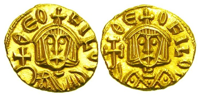 Ancient Coins - BYZANTINE EMPIRE.  Theophilos, 829-842 AD.  Gold Tremissis) of Syracuse.  Crowned bust wearing loros, holding cross / Crowned bust wearing chlamys holding orb.  S.1678.  Mint …