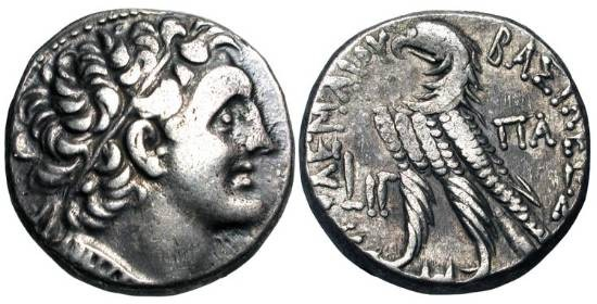 Ancient Coins - PTOLEMAIC KINGDOM.  Ptolemy XII Neos Dionysos, 80-51 BC.  AR Tetradrachm (14.35 gm) of Alexandria, year 13 (69/68 BC).  Head of Ptolemy I / Eagle standing.  Svor.1860.  Toned VF+.
