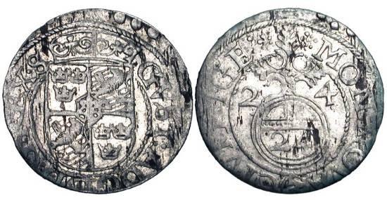 World Coins - RIGA UNDER SWEDEN.  Gustav II Adolf, 1621-1632 AD.  AR Dreipölcher, 1624.  Arms / Orb.  AAJ.11.  XF with some luster.