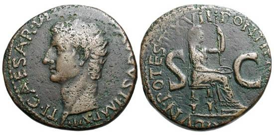 Ancient Coins - TIBERIUS, 14-37AD, AE As (10.86 gm).   Bare head / Livia seated holding patera and sceptre.  RIC.36(R4).  VF, brown patina.  Very Rare.
