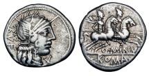 Ancient Coins - ROMAN REPUBLIC. Q. Minucius Rufus. 122 BC. AR Denarius