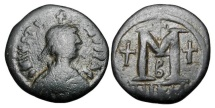 Ancient Coins - BYZANTINE EMPIRE.  Justin I, 518-527 AD.  Æ Follis