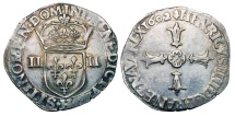 World Coins - FRANCE.  Henri III, 1574-1589 AD.  AR Quart d'Écu (9.50 gm), 1602,  La Rochelle, H.  Crowned arms flanked by II's / Cross.  Sb.4686.  Toned uneven VF+.