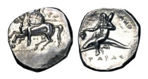 Ancient Coins - CALABRIA, Taras.  281-272 BC.  AR Nomos.