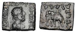 Ancient Coins - BAKTRIA.  Heliokles II, 110-100 BC.  Square Æ21 Hemi-obol.  ex PNC collection.