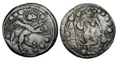 World Coins - ITALY, Venice.  XIV Century AD.  Æ Jetton (4.08 gm).  Lion of St. Mark / Androcles with lion.  M.341v.  VF, brown patina, flat spots.