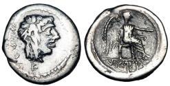 Ancient Coins - ROMAN REPUBLIC.  M. Cato, 89 BC.  AR Quinarius.