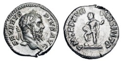 Ancient Coins - SEPTIMIUS SEVERUS, 193-211 AD.  AR Denarius (3.56 gm).  Laureate head / Neptune stand foot on rock, holding trident.  RSC.529.  RIC.228.  Near Mint, typical weak reverse strike.
