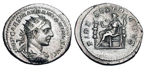 Ancient Coins - ELAGABALUS, 218-222 AD.  AR Antoninianus (4.96 gm), 218.  Radiate draped bust / Fides seated holding eagle and standard, second standard in field.  RSC.31.  RIC.70.  Toned aXF.  …