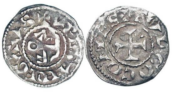 World Coins - FRANCE, Anjou.  Fulk IV-V, XI-XII Century AD.  AR Denier (0.80 gm).  Cross with alpha and omega / FVLCO monogram.  R.4114v.   Toned aVF.