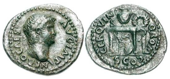 Ancient Coins - NERO, 54-68 AD.  Æ Semis (2.96 gm).  Laureate head / Modius and wreath on table.  RIC.233.  XF, brown  black patina.  Scarce