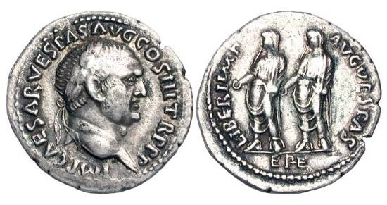 Ancient Coins - VESPASIAN, 69-79 AD.  AR Denarius (3.06 gm) of Ephesos.  Laureate head / Titus and Domitian standing, each holding patera.  RIC.331(S).  Toned aXF.  Scarce.
