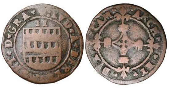 World Coins - CAMBRAI. , Louis de Berlaimont, 1570-1596 AD.  Æ 2 Deniers (2.95 gm),  Shield of arms / Cross.  B.2041.  Fine+, brown patina.