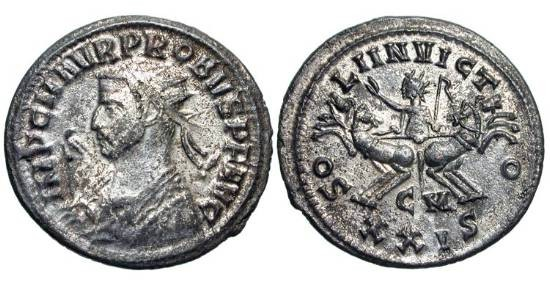 Ancient Coins - PROBUS, 276-282 AD.  Silvered Æ Antoninianus (3.42 gm) of Kyzikos.  Radiate bust in imperial mantle holding eagle-tipped sceptre / Sol in spread quadriga.  RIC.911.   Toned XF.