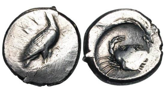 Ancient Coins - SICILY, Akragas.  450-440 BC.  AR Didrachm (8.62 gm).  Eagle standing with closed wings / Crab .  SNG.ANS.955.  Toned VF, off-center.