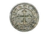 "World Coins - Bronze Seal Matrix.  Spain, XIII-XIV Century AD.  Round seal of Mateo Perez (S DE MATEO PEREZ) with arms of cross. 1 1/8"" dia.  Intact and very choice.  Rare armorial seal."