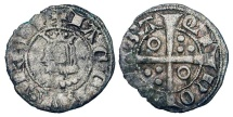 World Coins - SPAIN, Barcelona.   Jaime II, 1291-1327 AD. AR Dinero (0.60 gm) of Barcelona.  Crowned draped bust / Cross with pellets and annulets.  Crus.346.1.  Toned  VF.