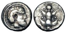 Ancient Coins - KYRENAIKA, Kyrene.  480-435 BC.  AR Drachm.  Rare.  ex Clain-Stefnelli collection.