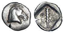 Ancient Coins - THESSALY, Thessalian League.  470-460 BC.  AR Hemiobol.  Very Rare.