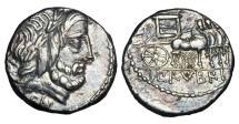 Ancient Coins - ROMAN REPUBLIC.  L. Rubrius Dossenus, 87 BC.  AR Denarius.