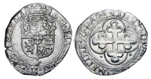 "World Coins - ITALY, Savoy.  Emanuele Filiberto ""Iron Head"", 1553-1580 AD.  AR Soldo,1564 of Aosta.  Crowned shield of arms / Cross in quatrefoil. CNI.153.  Toned aXF.  ex C. Parrish coll.  …"