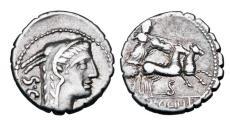 Ancient Coins - ROMAN REPUBLIC.  L. Procilius, 80 BC.  AR Denarius.