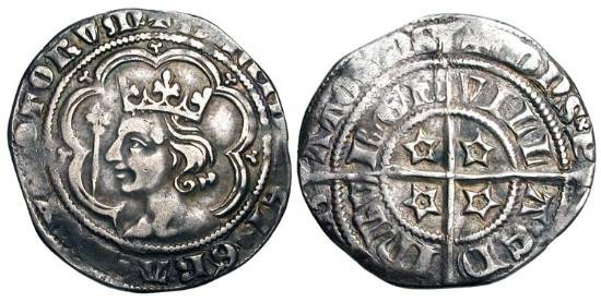 World Coins - SCOTLAND.  David II, 1329-1371 AD.  AR Groat (4.00 gm) of Edinburgh.  Crowned bust in tressure / Long cross with four mullets.  S.5092.  Toned VF.  ex. Jel Murray.
