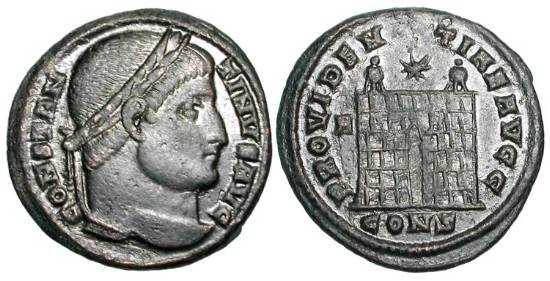 Ancient Coins - CONSTANTINE I, 307-337 AD.  Æ 3 (3.02 gm) of Constantinople.  Laureate head / Camp gate.  RIC.7(S).  XF, black patina.  Scarce.  First Æ issue minted in Constantinople.