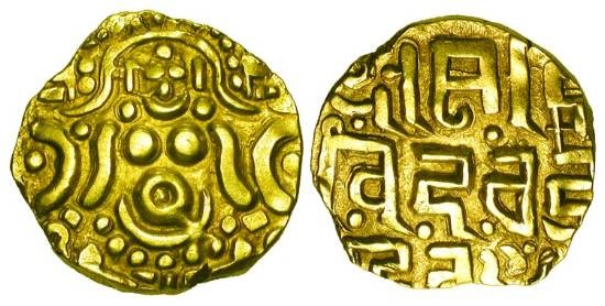 World Coins - INDIA, Gahadavalas.  Govindachandra and successors, 1114-1193 AD.  Pale Gold Stater (4.42 gm).  Four-armed Lakshmi seated / Inscription.  M.494.  VF+.