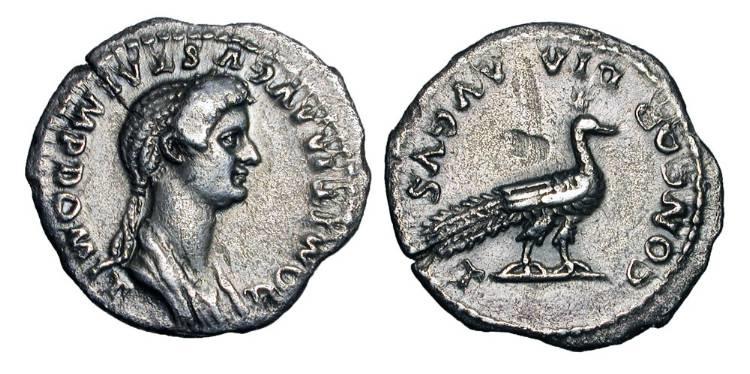 Ancient Coins - DOMITIA, wife of Domitian.  AR Denarius.  Very Rare.