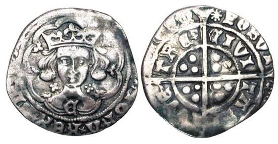 World Coins - ENGLAND.  Edward IV, 1461-1483 AD.  AR Groat, light coinage of Coventry, i. m. Sun 1465-1470 AD.  Crowned bust facing  in tressure; C on breast / Long cross.  S.2008.