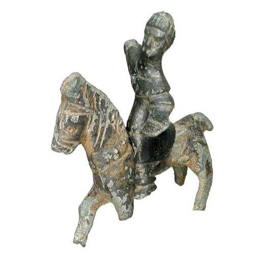 Ancient Coins - Bronze Horse and Rider Figurine set.  Thrace, Iron Age, 500-200 BC.  Seperate figurines of seated rider wearing tunic and prancing horse.  Nice matched set.