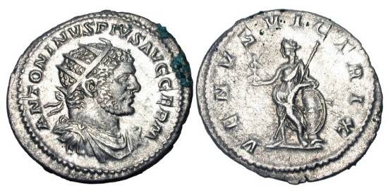 Ancient Coins - CARACALLA, 198-217 AD.  AR Antoninianus, Rome, 213-7.  Radiate draped bust / Venus standing holding Victory and sceptre.   RIC.311(c)(S).  Near Mint, spots of encrustation.
