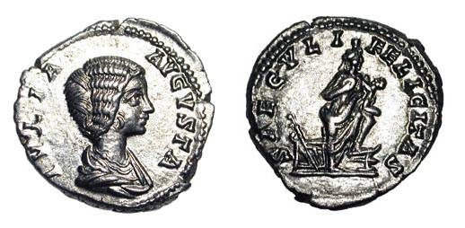 Ancient Coins - JULIA DOMNA, wife of Severus, d. 217 AD.  AR Denarius (3.51 gm).  Diademed draped bust / Isis standing with foot on prow, holding infant Horus.  RSC.174.  Near Mint