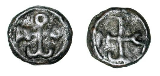 Ancient Coins - BYZANTINE EMPIRE.  Constantine VII, 913-959 AD.  Æ18 (3.25 gm) of Cherson.  Monogran 49 / Monogram 50.  S.1772.  aVF, brown black patina.