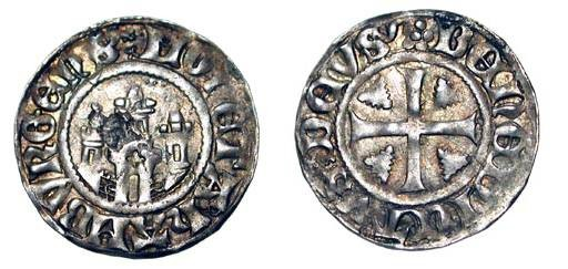 World Coins - GERMANY, Hamburg.  Before 1379 AD.  AR Witten (1.32 gm).  Fortified gate-house / Cross.  Saurm.3411.  Toned VF+.