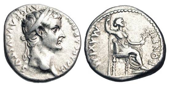 Ancient Coins - TIBERIUS, 14-37 AD.  AR Denarius (3.74 gm) Lugdunum.  Laureate head / Livia, as Pax, seated holding sceptre and olive-branch.  RIC.30.  VF.