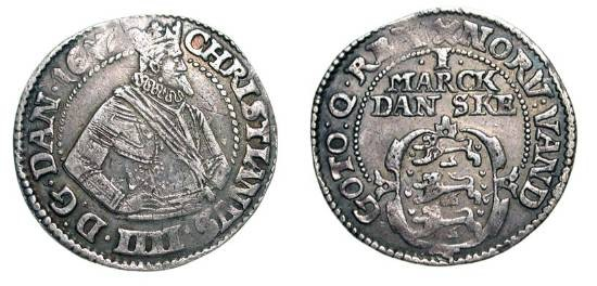 World Coins - DENMARK.  Christian IV, 1588-1648 AD.  AR Mark (7.20 gm), 1617.  Crowned armoured half-length figure / Shield of arms.  KM.52.  Toned VF.