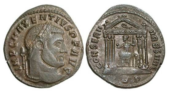 Ancient Coins - MAXENTIUS, 306-312 AD.  Silvered Æ Follis of Rome, 308-10.  Laureate head / Roma enthroned in hexastyle temple, holding globe and sceptre.  RIC.210.
