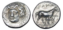 Ancient Coins - THESSALY, Larissa.  Mid IV Century BC.  AR Drachm