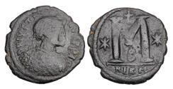 Ancient Coins - BYZANTINE EMPIRE.  Justin I, 518-527 AD.  Æ Follis.